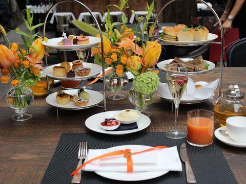 Dishware, Serveware, Tableware, Food, Table, Meal, Leaf, Orange, Furniture, Cuisine,