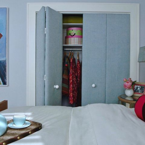closet doors covered in padded fabric