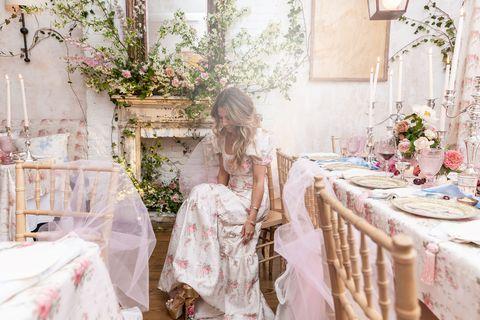 Photograph, Pink, Red, Room, Dress, Floral design, Flower, Textile, Furniture, Interior design,
