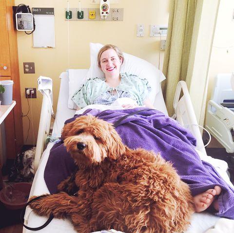 Beth Stebner Ovarian Cancer In Hospital With Dog