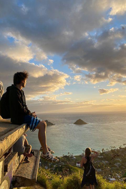 Sky, Cloud, Sea, Coast, Ocean, Horizon, Cliff, Rock, Sitting, Tourism,