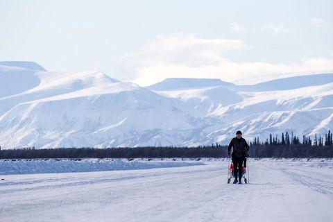 Snow, Winter, Sky, Arctic, Recreation, Ice, Mountain, Glacial landform, Footwear, Ice cap,
