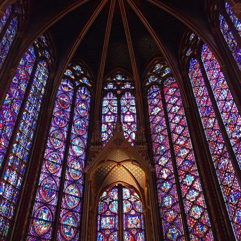 Stained glass, Architecture, Chapel, Glass, Gothic architecture, Place of worship, Medieval architecture, Landmark, Holy places, Window,