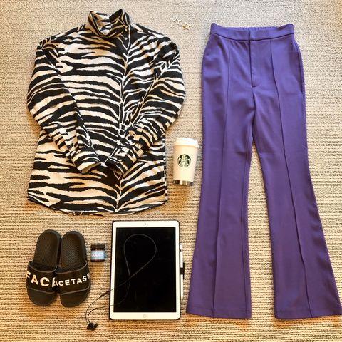 Clothing, Purple, Violet, Trousers, Active pants, Sportswear, Pajamas, Sleeve, Shorts,