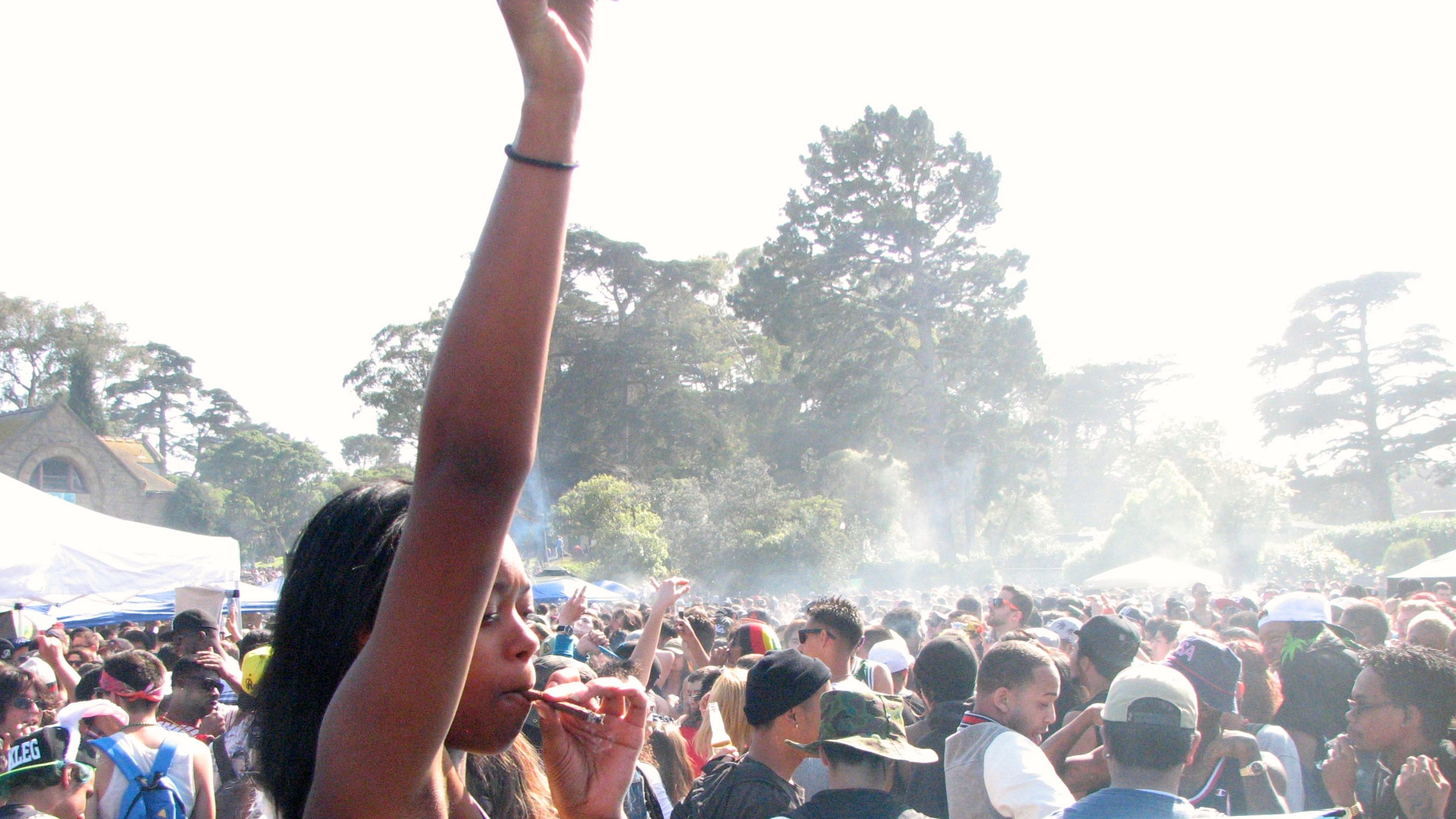 Tens of thousands of folks light up before during and after 4:20 p.m. on Hippie Hill. in San Francisco.