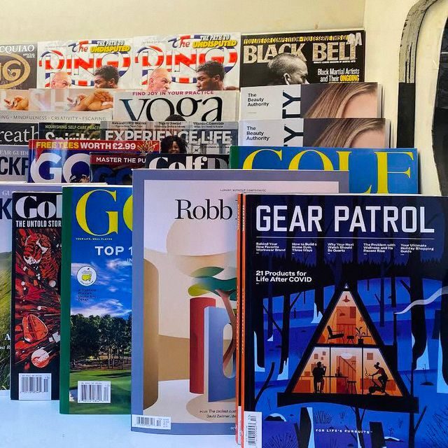 gear patrol magazine on a rack of other magazines