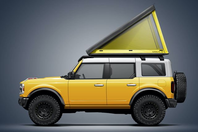 the go fast campers superlite roof tent mounted on the 2021 ford bronco in yellow