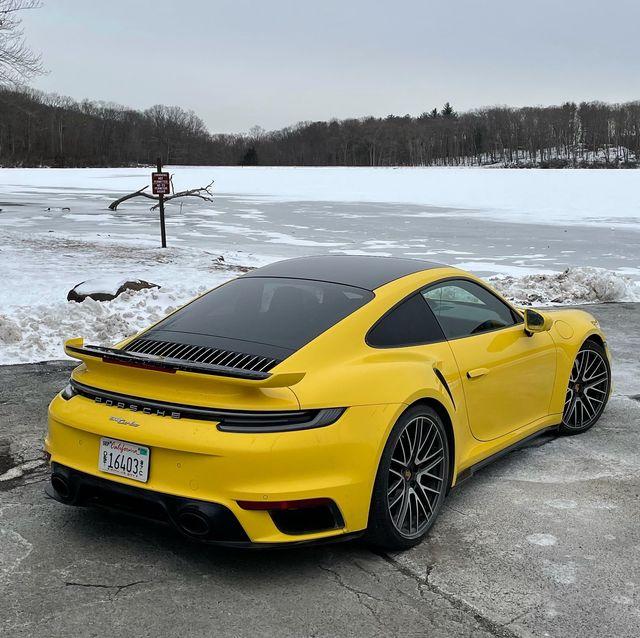 2021 porsche 911 turbo rear yellow