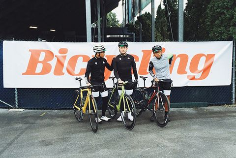 Angelo Calilap, David Hall, and Donalrey Nieva at the start of the Bicycling Fall Classic at the Valley Preferred Cycling Center in Trexlertown, Pennsylvania.