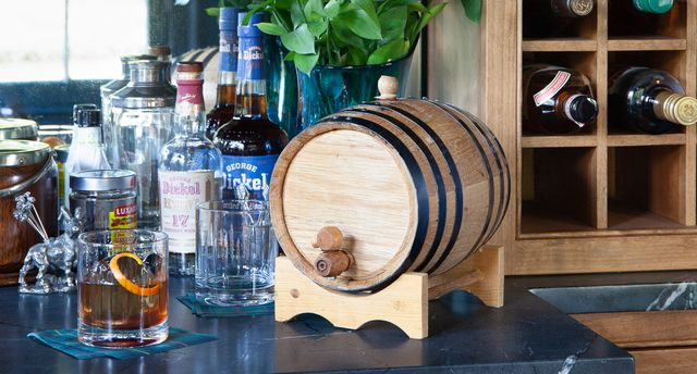 at home barrel with aged manhattan cocktail