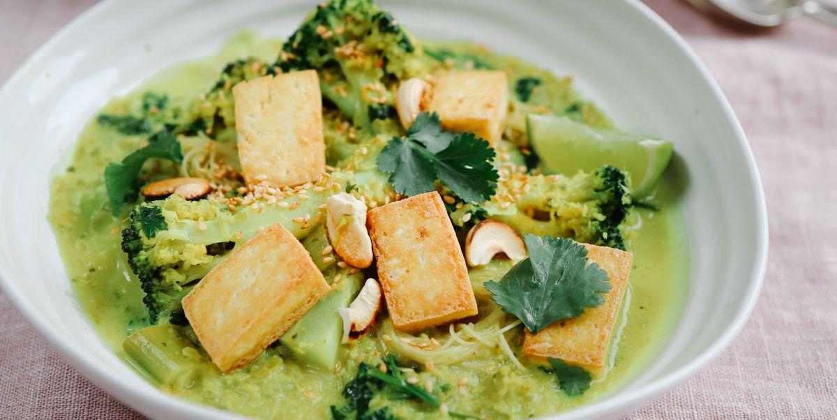 Make a warming ginger and lemongrass noodle soup with crispy tofu