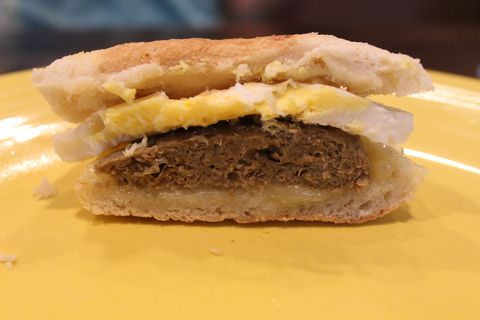 dunkin donuts plant based beyond meat sausage breakfast sandwich review taste test