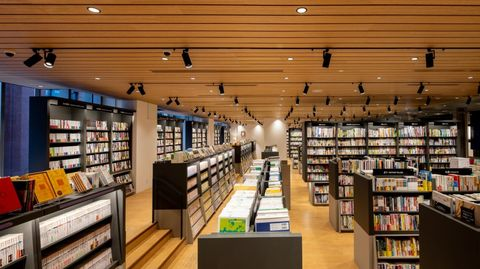Public library, Building, Library, Bookselling, Retail, Bookcase, Book, Publication, Shelving, Ceiling,