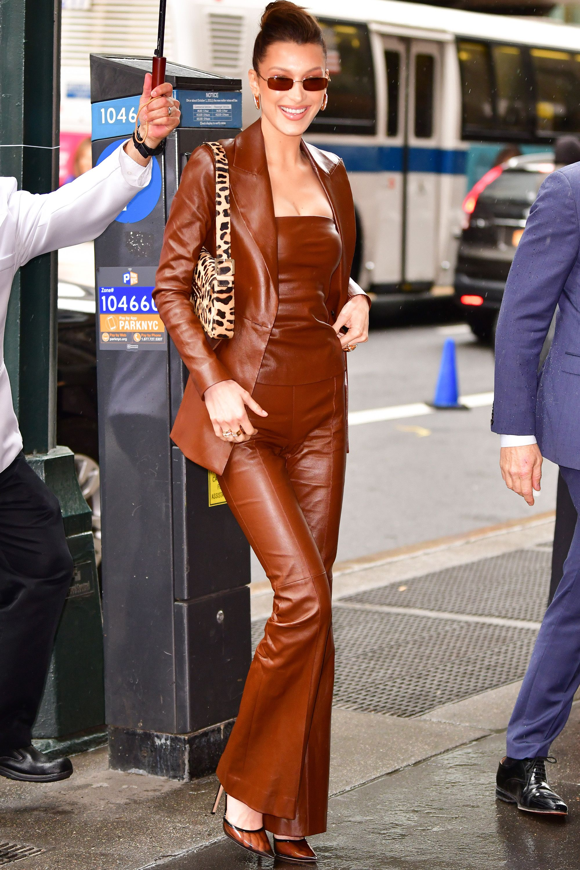 Who: Bella Hadid When: April 05, 2019 Wearing: Rosetta Getty Why: Bella Hadid is quickly proving that she is the modern-day queen of late nineties style. Her leather clad look is pre-Goop Gwyneth Paltrow, and we are obsessed, giving her best dressed of the week.