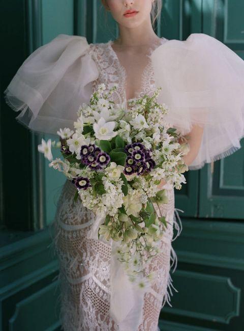 Bouquet, White, Clothing, Cut flowers, Wedding dress, Bride, Dress, Flower, Flower Arranging, Bridal accessory,