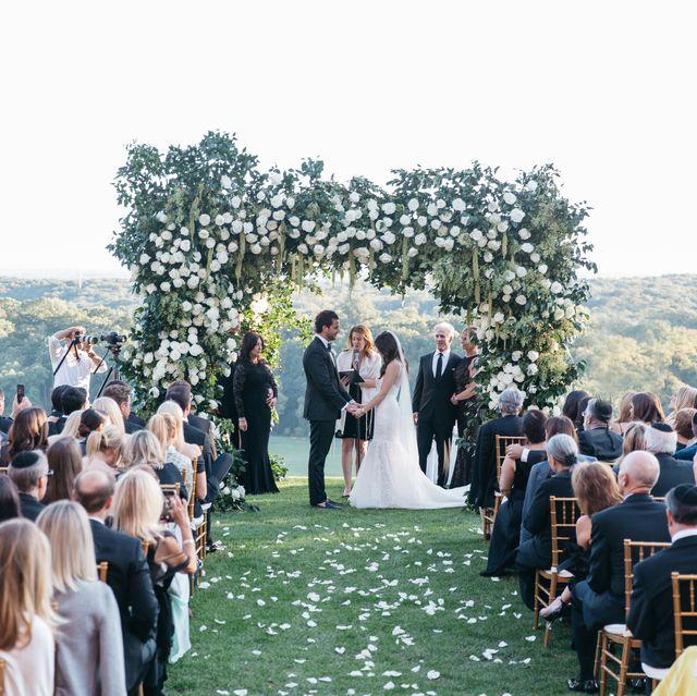 Photograph, Ceremony, Event, Wedding, Dress, Wedding dress, Bride, Crowd, Aisle, Landscape,