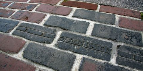 Brickwork, Brick, Wall, Cobblestone, Line, Road surface, Walkway, Flooring,