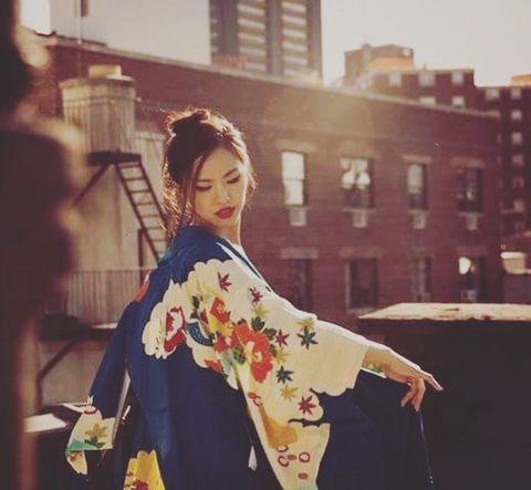 Beauty, Fashion, Cool, Sleeve, Visual arts, Photography, Costume, Kimono, Plant, Art,
