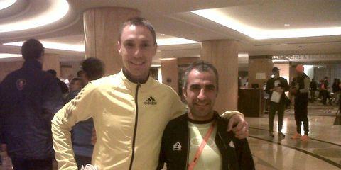 Nick Willis and Piergiorgio Conti before the 2013 NYC Marathon