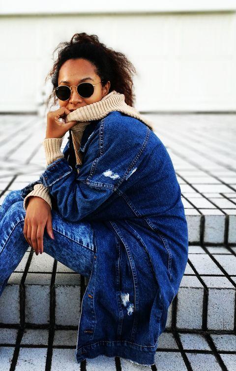 Denim, Jeans, Blue, Street fashion, Clothing, Eyewear, Cool, Sunglasses, Cobalt blue, Fashion,