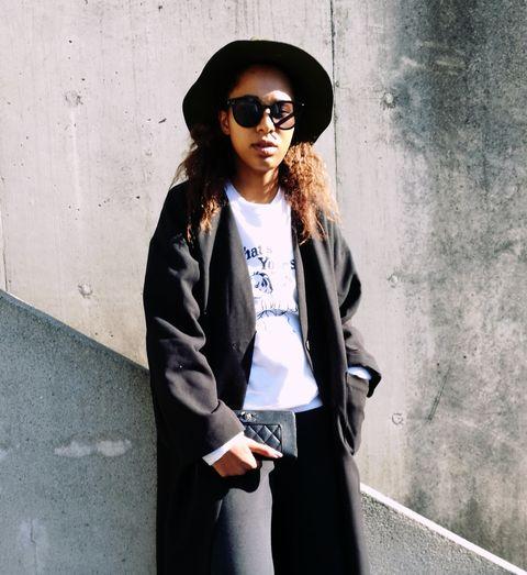 Clothing, White, Street fashion, Black, Eyewear, Fashion, Outerwear, Snapshot, Sunglasses, Jacket,