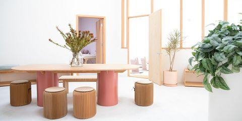 Flowerpot, Furniture, Houseplant, Table, Room, Shelf, Interior design, Vase, Wood, Stool,