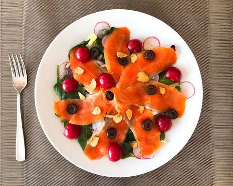 Dish, Food, Cuisine, Fruit salad, Salad, Ingredient, Garnish, Vegetable, Produce, Smoked salmon,