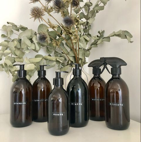 refillable glass bottles for plastic-free kitchen and bathroom