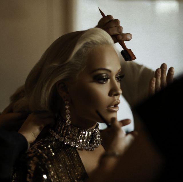 Hair, Beauty, Fashion, Hairstyle, Blond, Lip, Photography, Fashion design, Model, Dress,