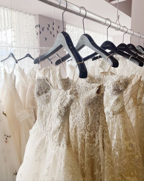 wedding dresses in warren barron bridal in dallas texas, where alex, paige, and ree drummond shopped for wedding dresses