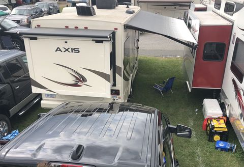 rvs in a nascar infield