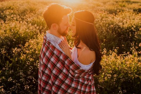 People in nature, Photograph, Facial expression, Love, Sunlight, Grass, Light, Yellow, Backlighting, Happy,