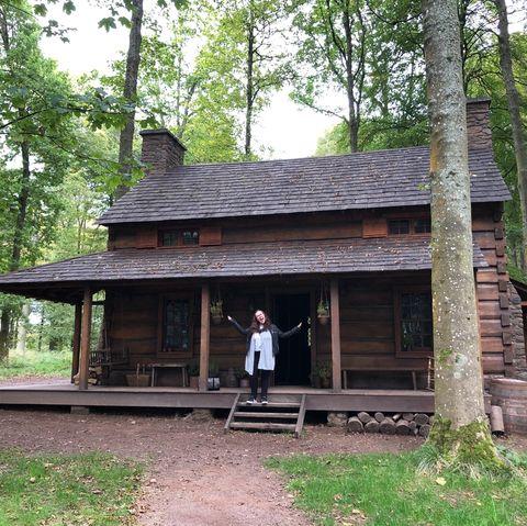 Log cabin, Shack, Cottage, House, Building, Tree, State park, Hut, Forest, Landscape,
