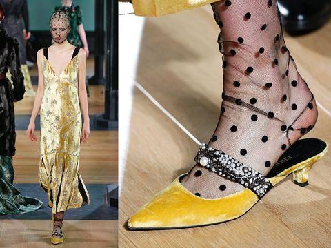 Footwear, Yellow, Shoe, Fashion, Leg, High heels, Fashion model, Joint, Ankle, Design,