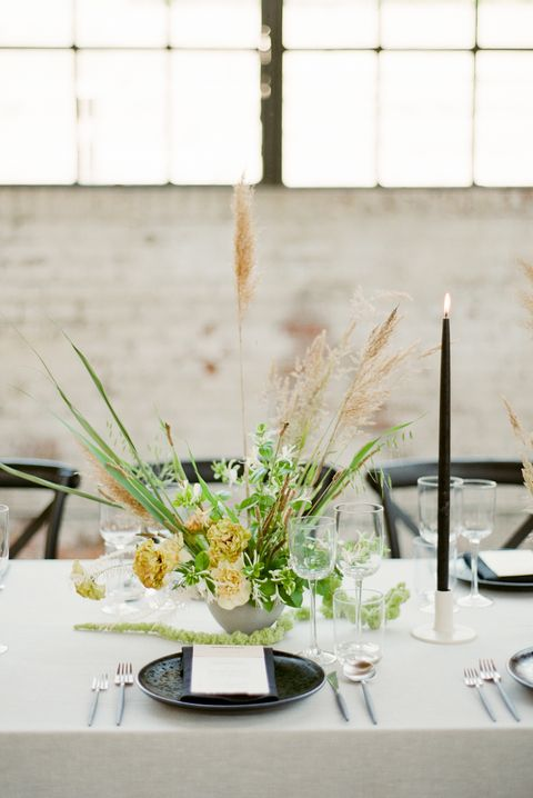 Centrepiece, Rehearsal dinner, Flower Arranging, Flower, Yellow, Floral design, Floristry, Table, Plant, Interior design,