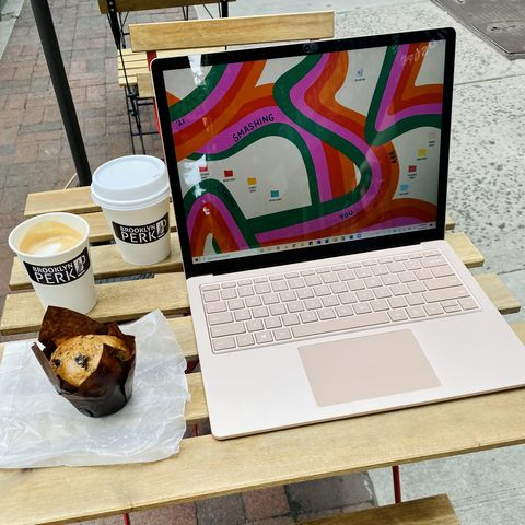 microsoft surface laptop 4 in sandstone at coffee shop