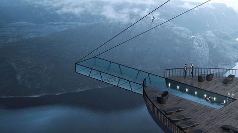 Una piscina de vidrio en voladizo sobre el fiordo noruego