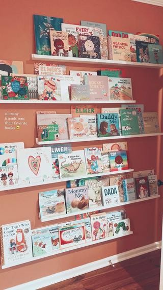 a wall of children picture book displays