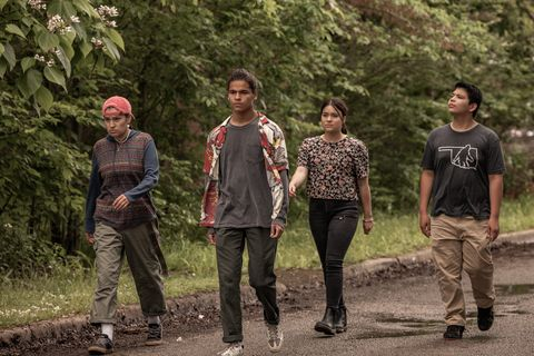 """reservation dogs """"satvrday'"""" episode 8 airs, monday, september 20 pictured l r paulina alexis as willie jack, d'pharaoh woon a tai as bear, devery jacobs as elora danan, lane factor as cheese cr shane brownfx"""