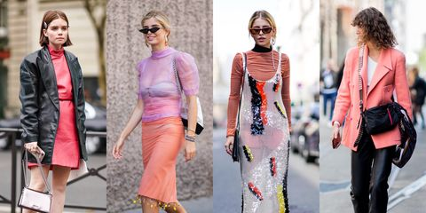 Clothing, Street fashion, Fashion, Pink, Orange, Fashion model, Dress, Footwear, Haute couture, Outerwear,