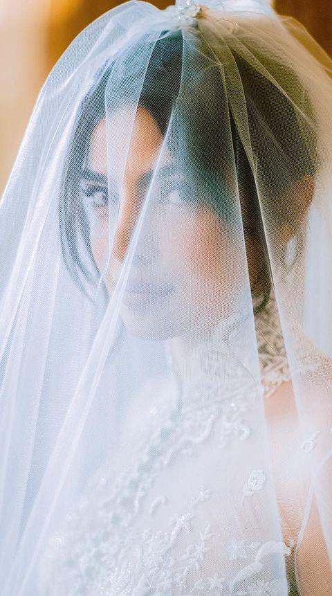 Veil, Bridal veil, Bridal accessory, Bride, Dress, Wedding dress, Shoulder, Fashion accessory, Bridal clothing, Gown,