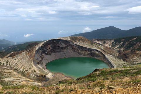 Crater lake, Mountain, Tarn, Mountainous landforms, Lake, Volcanic crater, Mountain range, Highland, Caldera, Wilderness,