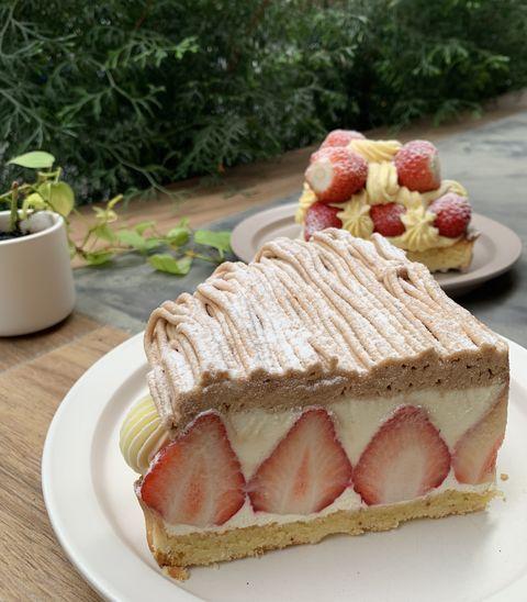 深夜裡的法國手工甜點草莓甜點