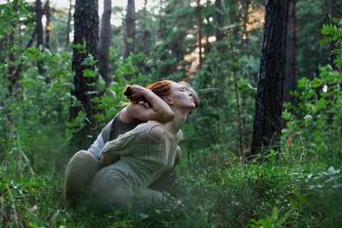 People in nature, Forest, Natural environment, Woodland, Jungle, Tree, Grass, Old-growth forest, Plant, Photography,