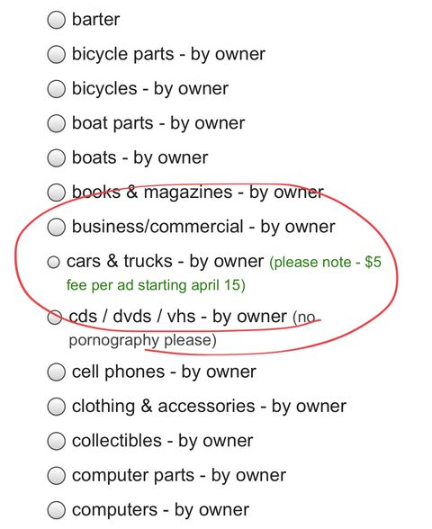 Craigslist Chicago Cars And Trucks By Owner >> Craigslist Will Start Charging 5 To List Your Car