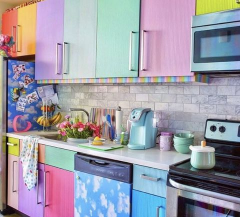 Countertop, Room, Kitchen, Turquoise, Property, Purple, Cabinetry, Interior design, Tile, Furniture,