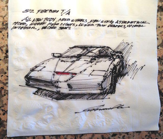 napkin drawing of the kitt car from knight rider