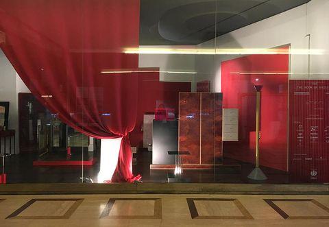 Red, Interior design, Light, Architecture, Lobby, Lighting, Ceiling, Building, Floor, Room,