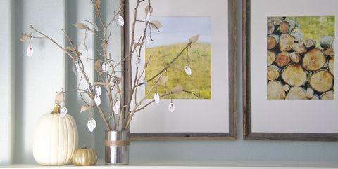 Wood, Branch, Twig, Wall, Interior design, Art, Interior design, Still life photography, Paint, Vase,