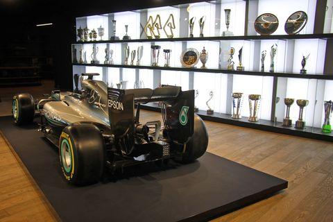 Automotive design, Vehicle, Car, Tire, Race car, Automotive tire, Museum, Collection, Tourist attraction, Formula one car,